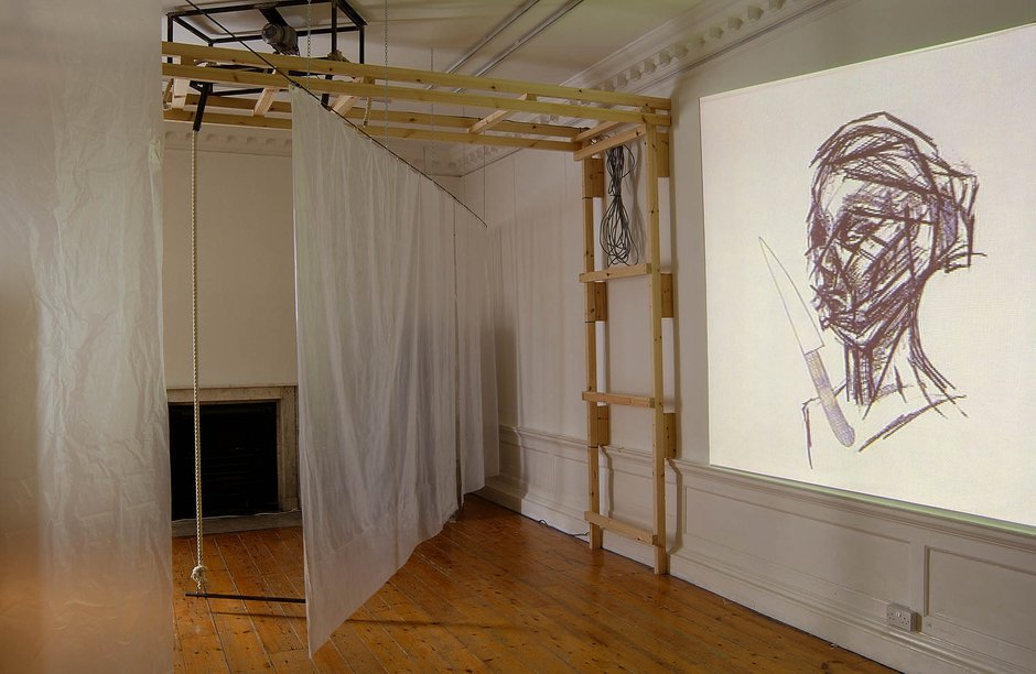 Emma Woffenden: Locked Rooms. No Horizon, part 3, 2004. Trapeze on pause with view of Ann Course's film.