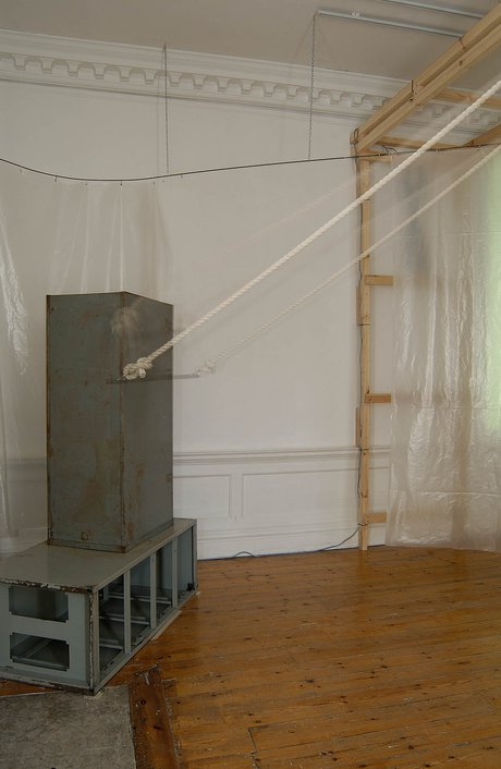 Emma Woffenden: Locked Rooms. No Horizon, part 3, 2004. View of metal trapeze bar banging between the cabinets