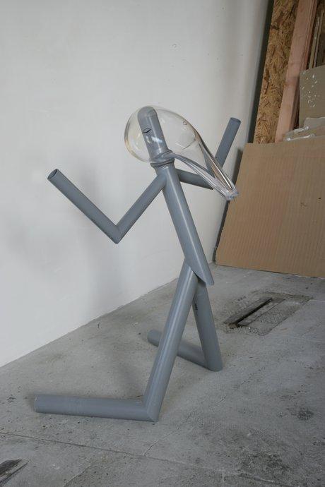 Emma Woffenden: New works, Barrett Marsden Gallery, 2006. Dumbstruck 124 × 96 × 98 cm Plastic pipe, wood, metal, glass