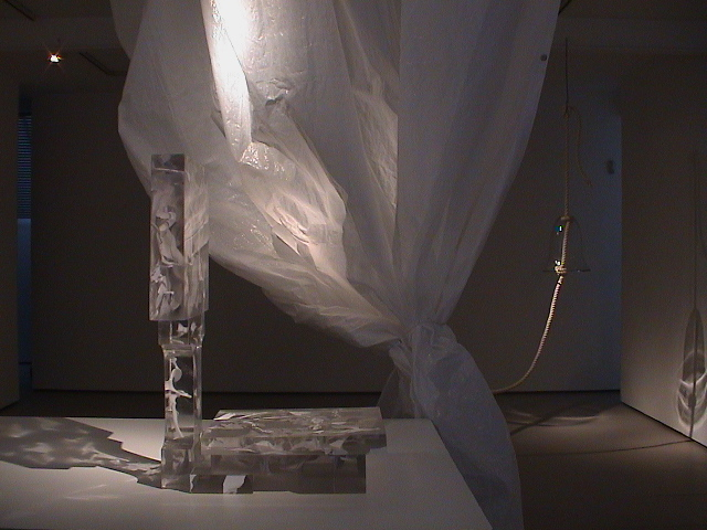 Emma Woffenden: Solo show, Barrett Marsden Gallery, 2001. Heaviness, cast glass white and clear