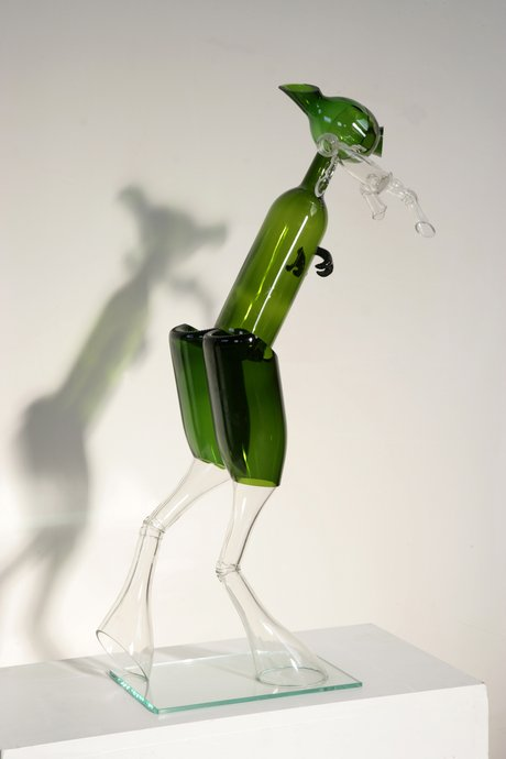 Emma Woffenden: Early figurative work made from bottles, 2006. Mousie
