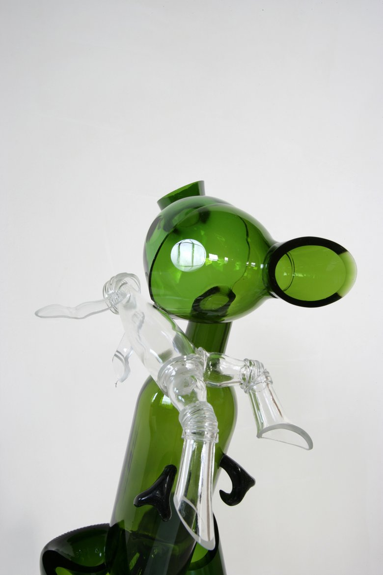 Emma Woffenden: Figurative work made from glass bottles, 2006. Mousie, detail