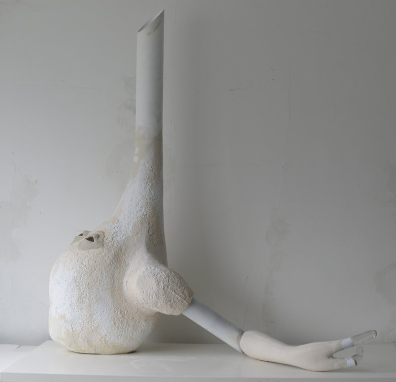 Emma Woffenden: Dislocated and Washed Up, 2013. Washed Up H143cm x W123cm x D 83cm Glass, cardboard, polystyrene, acrylic resin, putty. In the collection of Glasmuseet Ebeltoft DK
