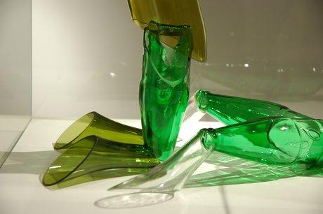 Emma Woffenden: Figurative work made from glass bottles, 2006. The Gaze, detail