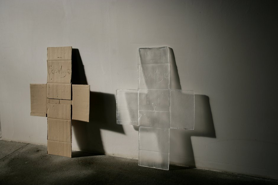 Emma Woffenden: New works,, Box Cross and Bellringer. Box cross 'Goodbye' 89 × 140 × 20 Glass, cardboard