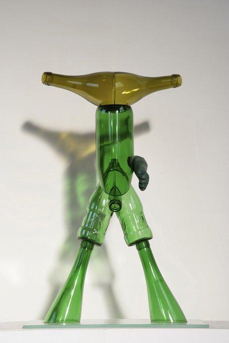 Emma Woffenden: Figurative work made from glass bottles, 2006. Heshe 53 × 36 × 15 cm Glass bottles