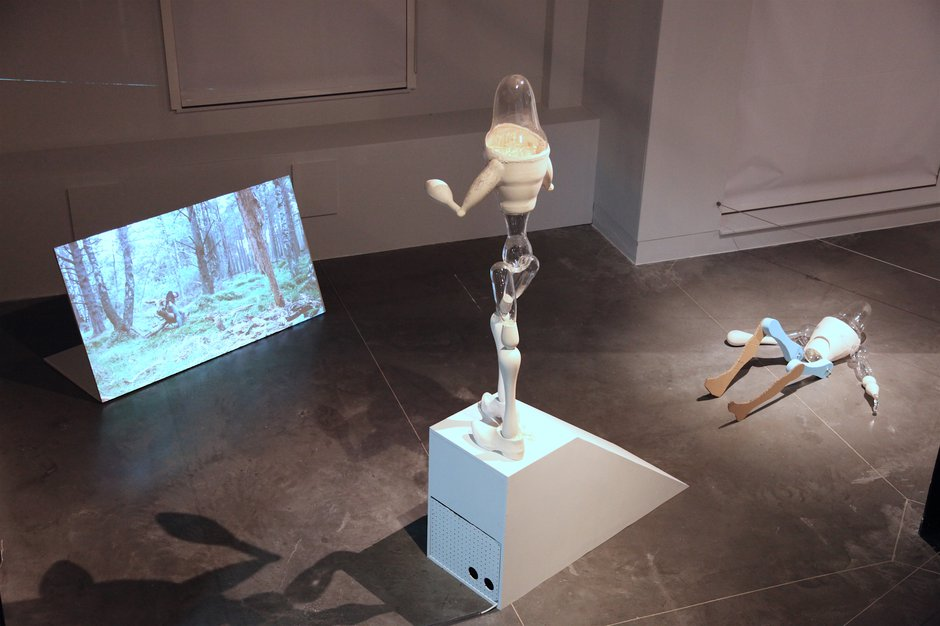 Emma Woffenden: New works Art of Glass, Mummy Woodentop, Fell, installation film and sculpture.. Fell installation National centre for Craft and Design