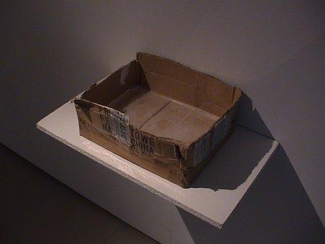 Emma Woffenden: Solo show, Barrett Marsden Gallery, 2001. Crystal inside Cardboard Box. 20×40×30cm Cardboard, glass
