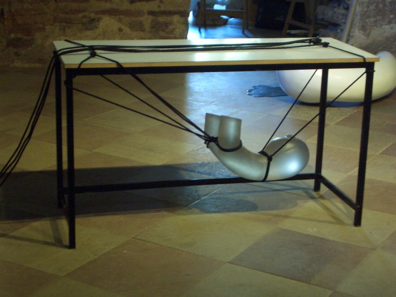 Emma Woffenden: Borgholm Castle installation, 2005. Holding On, table, rope, cast glass