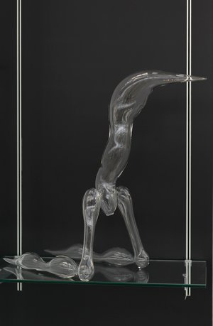 Emma Woffenden: Glass Figures, 2015. Kneeling Figure. Clarity exhibition.