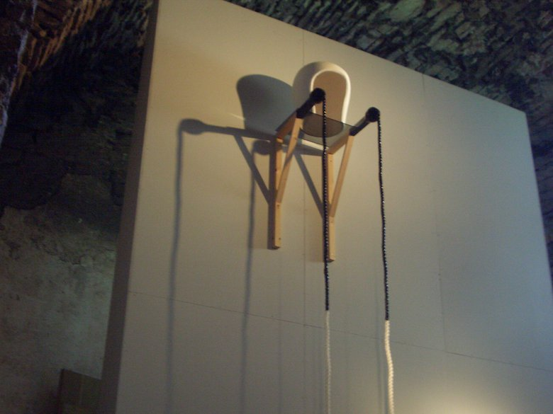 Emma Woffenden: Borgholm Castle installation, 2005. My Head was Empty I was Way Up High. Fibre glass, rope, wood shelf