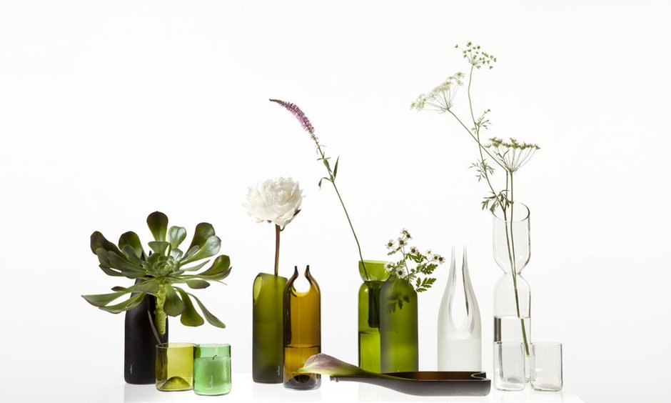 Emma Woffenden: tranSglass, 1997.   transglass, made from recycled bottles. Collaboration with Tord Boontje, on going.