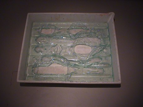 Emma Woffenden: Solo show, Barrett Marsden Gallery, 2001. Large Steamed Glass In A Plastic Tray.